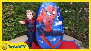 GIANT EGG SURPRISE OPENING SPIDERMAN Toys & Marvel Superhero Toys Kids Video