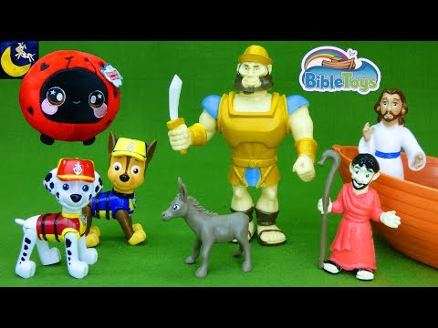 Paw Patrol bring us NEW toys to unbox Bible Toys David & Goliath Stories Prayer Toy Video for Kids