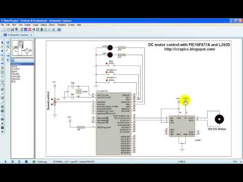 DC motor speed and direction control using PIC16F877A and L293D CCS PIC C