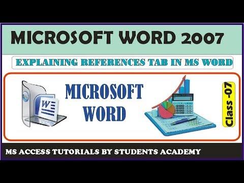 Microsoft Office Word 2007 full course - References Tab in Urdu/Hindhi