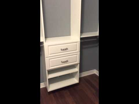Closet Town project. Large walk-in closet. White melamine with 4 drawers.