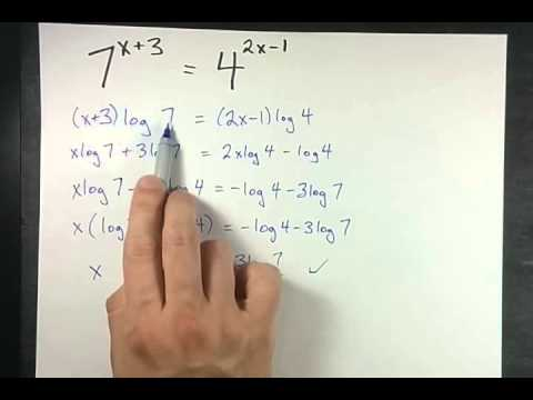Solving Exponential Equations: Exact Answer for 7^x+3=4^2x-1