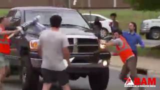 """Guy Says """"Fuck It"""" Drives Through Protest"""