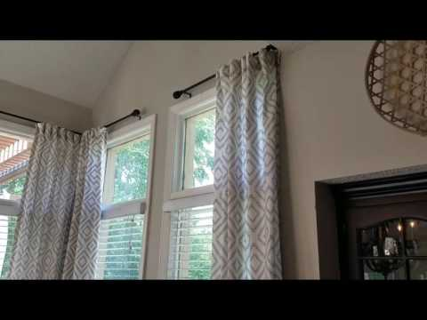 DIY/ HOW TO HANG AND EMBELLISH DROP CLOTH / STORE BOUGHT CURTAINS
