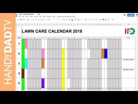 2018 Lawn Care Calendar