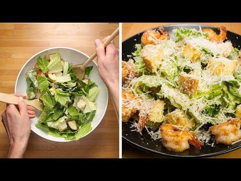 How To Make Caesar Salad (with Shrimp) - Fast Recipes Video