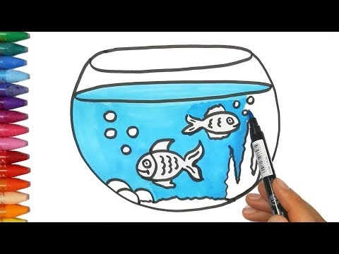Fish Tank drawing and coloring | How to Draw and Color Kids TV