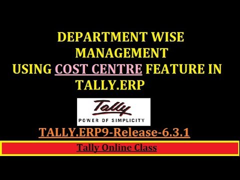 Department Wise managment Using Cost centre Feature in Tally.ERP9