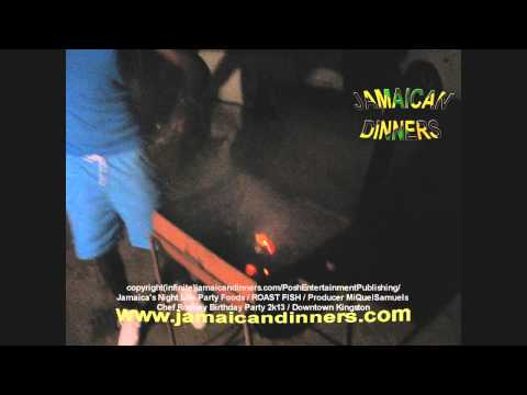 Roast Conch and Fish - Coal Fire Grill setup (Rodney's Jamaican Birthday Party) part 5