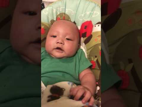 4 Month old baby laughing nonstop at the sound of cough