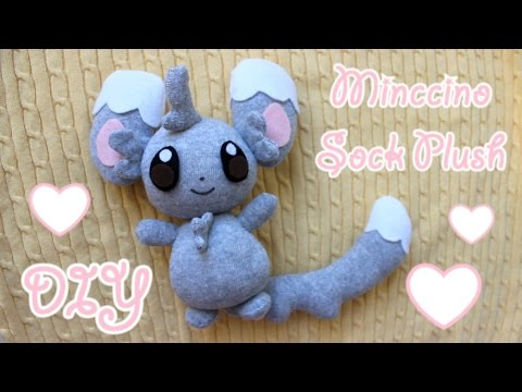 ❤ DIY Minccino Sock Plush! How To Make A Cute Pokemon Plushie~ ❤