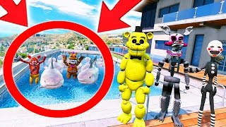 HOW MANY SHARKS DID GOLDEN FREDDY PUT IN THE POOL? PRANK! (GTA 5 Mods For Kids FNAF Funny Moments)
