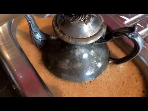 Cleaning vintage pewter tea pot with vinegar, olive oil and Coke-a-Cola POV