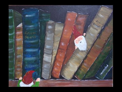 Old Books and Gnomes Easy Acrylic Painting for Beginners