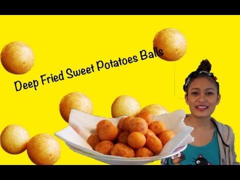 How to cook deep fried sweet potato balls (ขนมไข่นกกระทา)