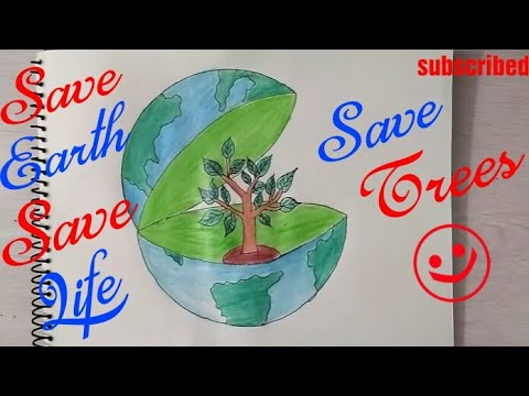 How to Draw Save Earth Coloring Poster step by step || Save Trees, Save Environment, Save Future ||