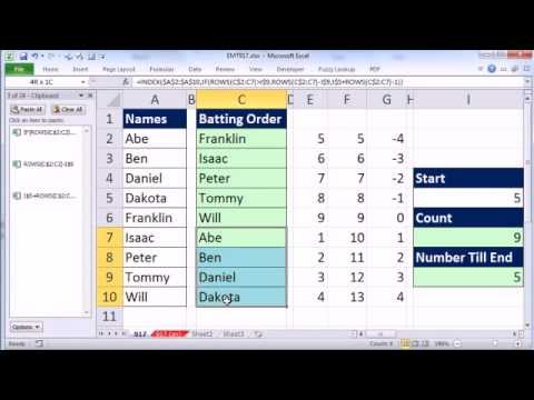 Excel Magic Trick 917: Rotating List With Formula (For Little League Baseball Batting Order)