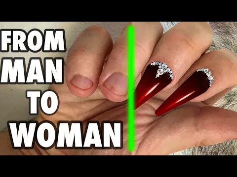 HARDEST TRANSFORMATION FROM MAN TO WOMAN HAND USING GEL NAIL EXTENSION SHOCKING BEAUTY TUTORIAL 2018