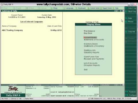 Tally.ERP 9 Advance Feature, Bill-wise Details
