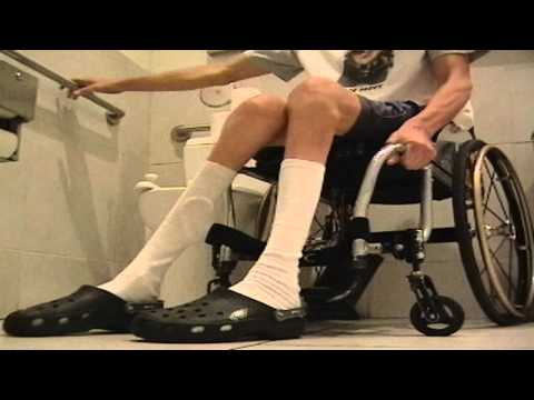 Wheelchair style - using wheelchair accessible Restroom at ice cream parlor - L1 injury 8-7-11
