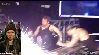 WWE Smackdown 2/14/17 Baron Corbin interrupts Dean Ambrose and Ellsworth match