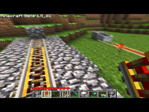 Minecraft Tutorial: One line subway system using powered rails