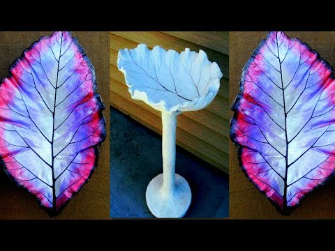 How to make cement Leaf pot | cement bowl with leaf | concrete leaf casting | cement leaves