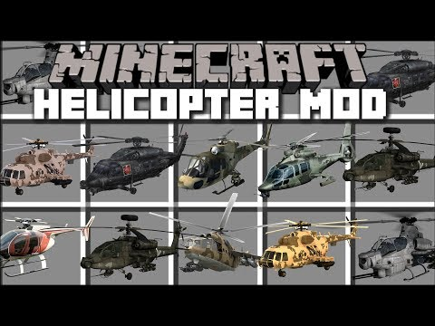 Minecraft HELICOPTER MOD / FLY AND SHOOT WITH PLANES!! Minecraft