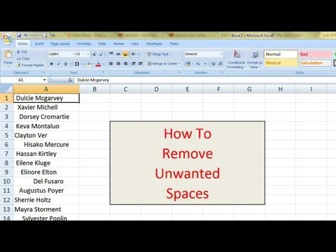 Removing Unwanted Spaces In Microsoft Excel