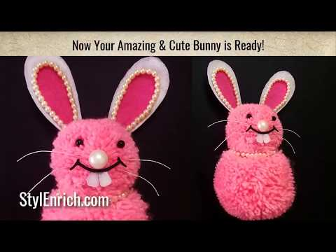 How to make DIY Pom Pom Bunny   Easy Stuffed Woollen Rabbit   Kids Craft   StylEnrich