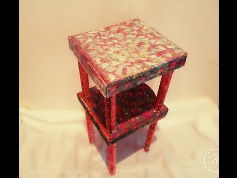 DIY craft: cardboard furniture/ recycled pizza boxes into table.