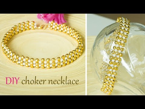 How to make pearl and gold choker necklace | Easy and quick DIY collar necklace | Beads art