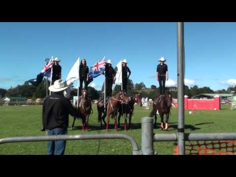 Flag Drill girls up on horses.m2ts