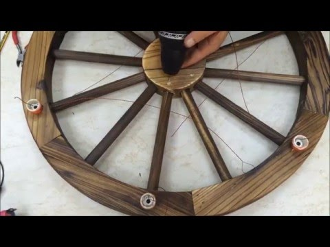 Wooden wheel LED lighting fixture