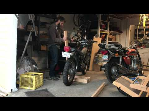 DIY motorcycle center stand to get both wheels off the ground.