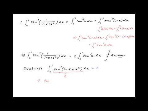 Evaluate the integral of arctan [ 1 / {1 - x + square(x) } ] between the limits 0 and 1.
