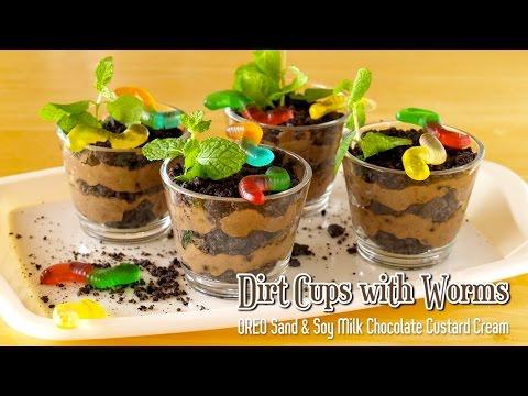 Dirt Cups with Worms (OREO Sand & Chocolate Custard Cream) みみず入り泥カップ (ダートカップ) - OCHIKERON