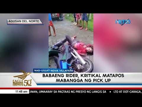 Babaeng rider, kritikal matapos mabangga ng pick-up