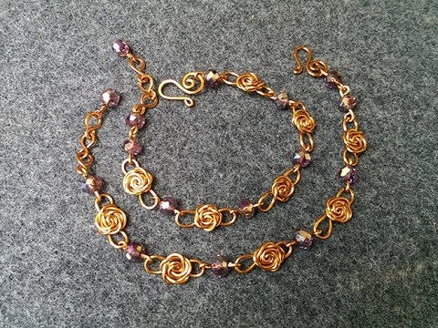 Wire copper rose bracelet - jewelry making design 119