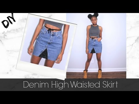 DIY | TURN OVERSIZED JEANS INTO DENIM SKIRT | Jeanae Melisa