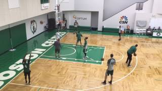 Boston Celtics star Isaiah Thomas practices shooting with right hand