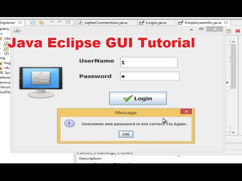 Java Eclipse GUI Tutorial 5 # Login Program for java with sqlite database PART-1