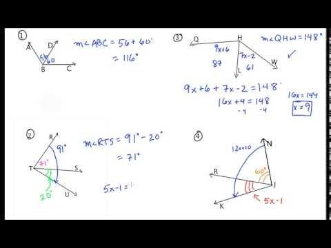 Angle Addition Postulate - Additional Examples