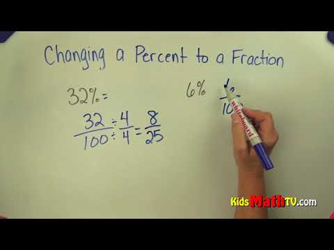 Converting percentages to fractions step by step video tutorial