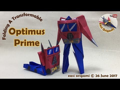 How to make a Papercraft, Origami Transformer Optimus Prime (requires 1 straight cut)
