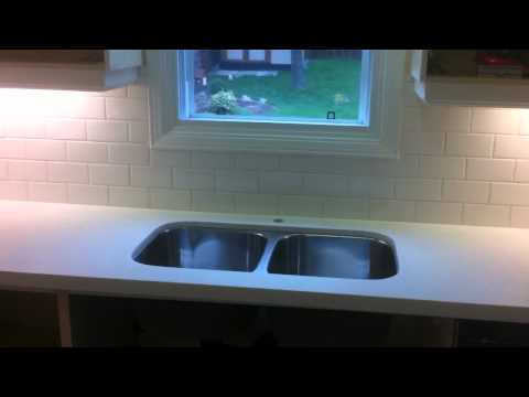 Leopazzo kitchen tile backsplash 3x6 subway staggered installation complete