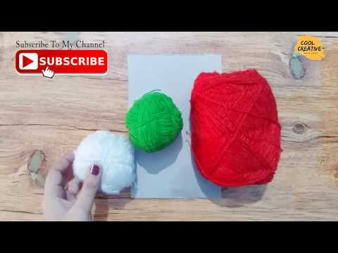 DIY Pompom-how to make a strawberry pompom(easy crafts)-yarn pompom - cool and creative #130