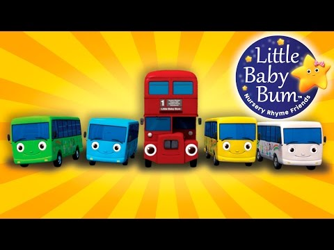 Ten Little Buses | From Wheels On The Bus | Nursery Rhymes | by LittleBabyBum!