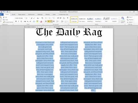 Newspaper article using columns in Word