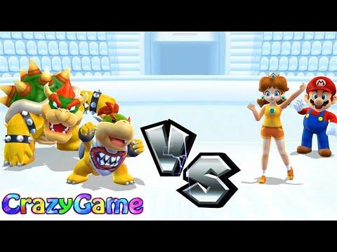 Mario Sports Mix - Team Jr. Bowser & Bowser vs Mario & Daisy Basketball Gameplay | CRAZYGAMINGHUB